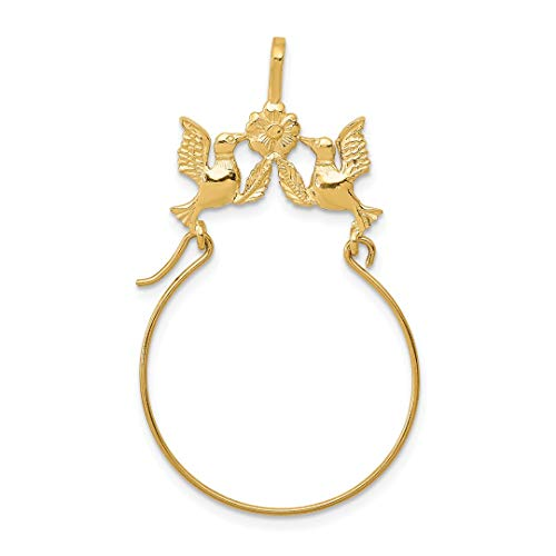 (14k Yellow Gold Doves Bow Pendant Charm Necklace Holder Fine Jewelry Gifts For Women For Her)