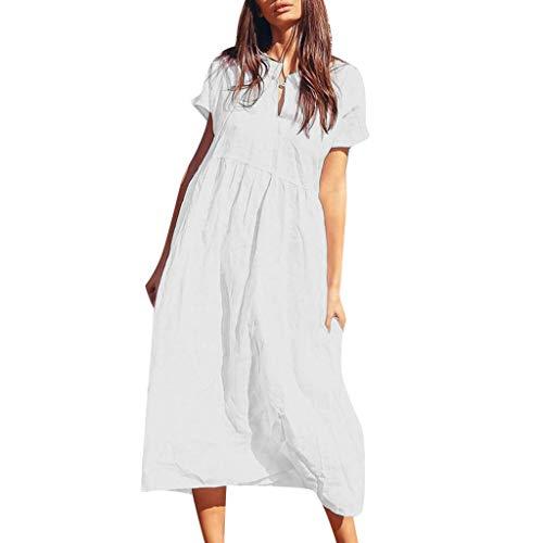 (Sunhusing Women's Short Sleeve V-Neck One Button Solid Color Frilled Waist-Tie Summer Beach Dress White )