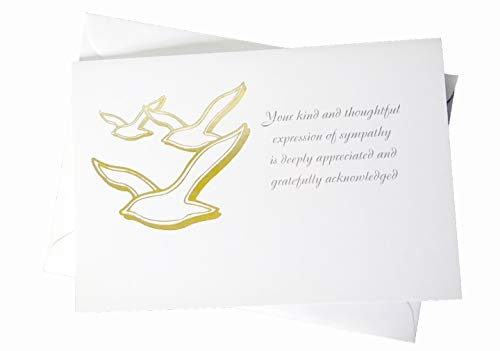(Funeral Sympathy Acknowledgements - Set of 25 Thank You Cards - Includes Envelopes - Gold Foil Stamped