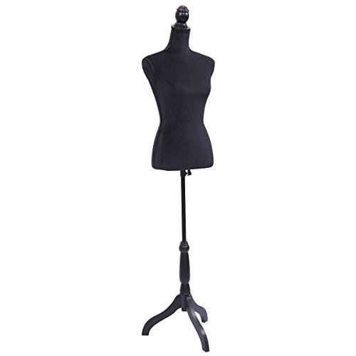 Form Black Dress - Female Canvas Mannequin Torso Dress Form Clothing Display w/Black Tripod Stand