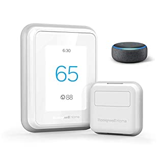 Echo Dot (3rd Gen) - Charcoal Fabric bundle with Honeywell Home T9 WIFI Smart Thermostat, Smart Room Sensor included