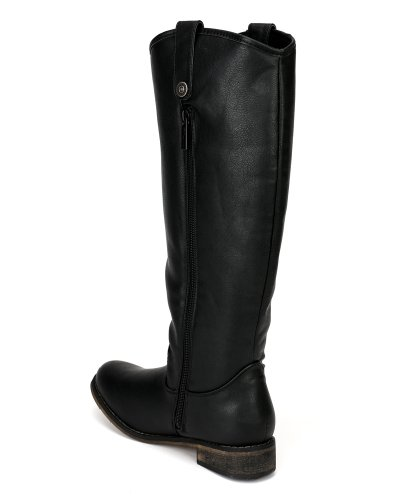 Boot Leatherette Round Black AE45 Women Breckelle Riding Knee Toe High vxCOq8w