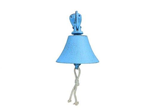 Hampton Nautical Rustic Light Blue Hanging Ship's Bell 6