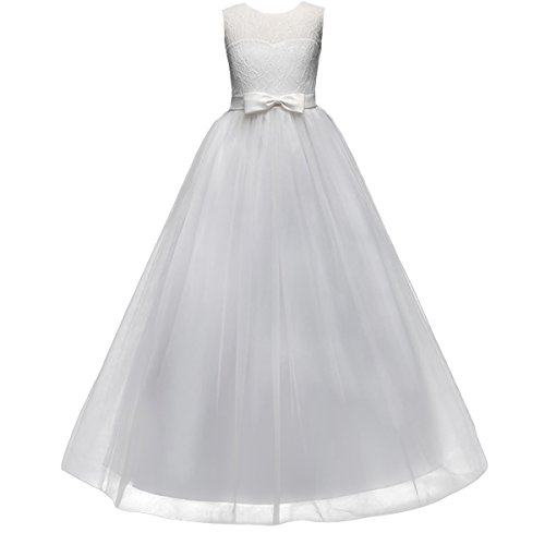 Girl Kids Tulle Embroidered Princess Chiffon Lace Flower Wedding Party Floor Length Dress Evening Dance Maxi Ball Gown (Pretty First Communion Dresses)