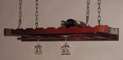Hanging Wine & Stemware Rack, Dark Cherry MADE IN USA