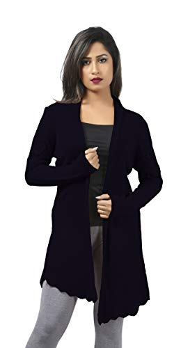 - CutyFashion Women's 100% Acrylic Cable Knit Open Front Button Fashionable Cardigan Sweater Coat (L, Dark Navy)