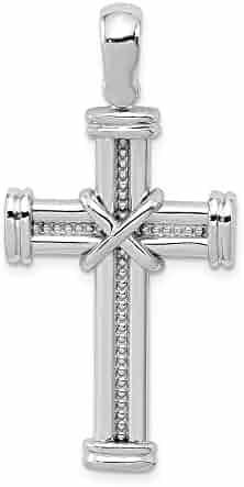 14k White Gold Polished Rope Cross Pendant