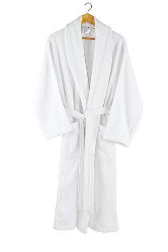 Charisma Home - Albornoz - para hombre/mujeres -100% algodón -bata- 380 g/m²- blanco S/M