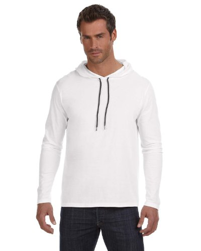 Hood White Clothing (Anvil Lightweight Long Sleeve Hooded T-Shirt. 987 XX-Large White / Dark Grey)