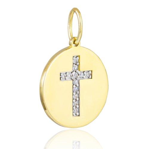 14k Yellow Gold Cross Diamond Disc Pendant