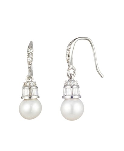 Carole Fresh Water Pearl Drop With Baguette Cap Earring, Silver/White