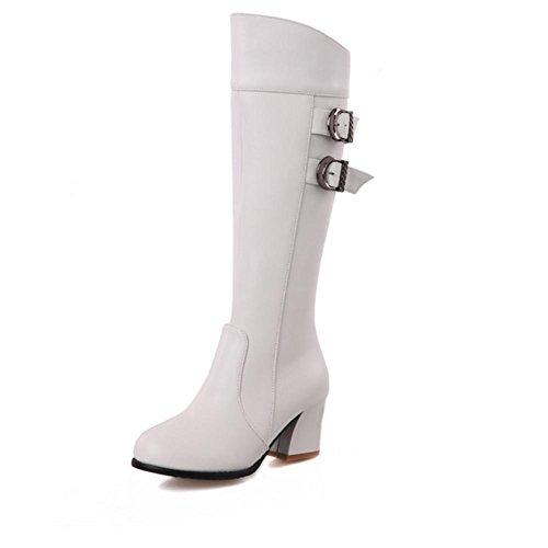 XIAOGANG H HFour Seasons Women (marrón.) Negro. Rojo. Blanco doble cinturón hebilla zapatos de goma botas de tacón alto hembra, warm and white, 40