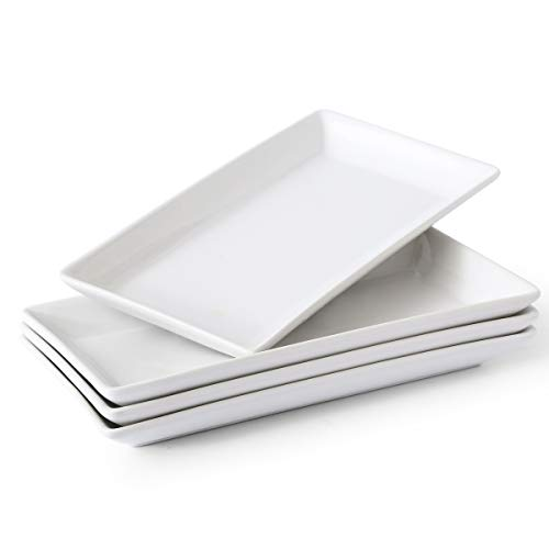 Porcelain Serving Platters Rectangular Trays White Serving Platters for Party, Stackable Set of 4,12 inch
