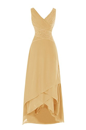 Buy gold tea length mother of the bride dress - 1