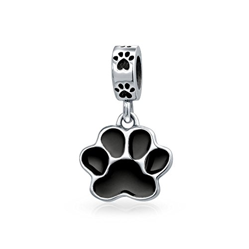 Dog Charming Print (925 Silver Black Enamel Dog Paw Animal Dangle Bead Charm)