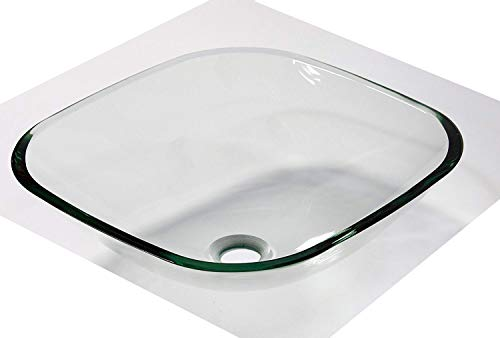 1/2 Thick Bathroom Clear Square Glass Vessel Vanity Sink with free - Vessel New Glass Sink