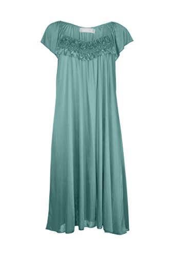 EZI Women's Satin Silk Ruffle Nightgown ,Sea Green,M