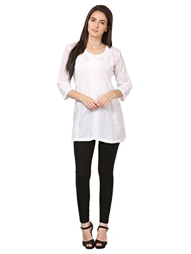 saadgi Women's Chikankari Embroidered Handwork Pure Cotton Chikan Kurti Large ()