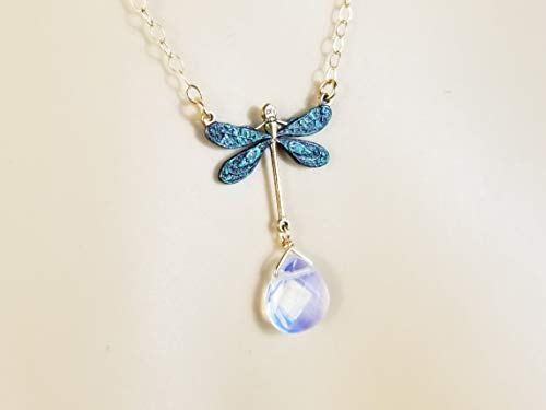 - Dragonfly Necklace - Hand Painted Dark Green Nature Pendant w/Opalite