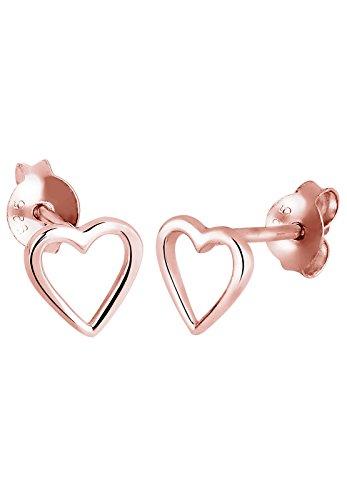 Elli - Boucles d'oreilles - Clous et puces Coeur Plaqué Or Rose- Argent 925/1000 - 310950914