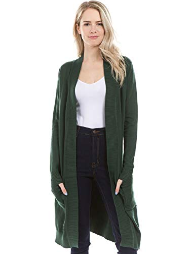 Solid Long Sleeve Cardigan - Instar Mode Solid Soft Stretch Long-Line Long Sleeve Cardigan [S-XL] Olive L