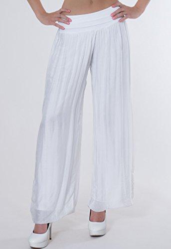 Caspar KHS010 - Falda pantalón para mujer, diseño elegante, cintura elástica alta blanco