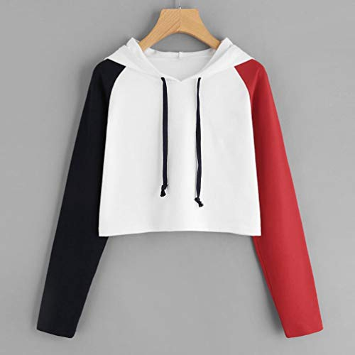 Ladies Hoodie Sweat Pullover Splice Sweatshirt Womens Crop Girls Plain Jumper Tops Red rIAqr