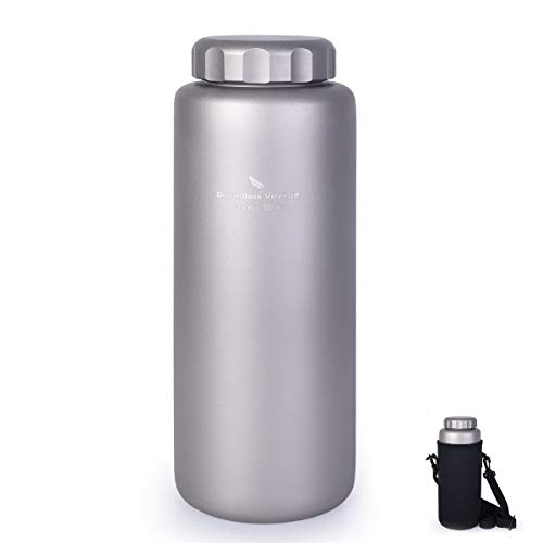 iBasingo 1050 ml/ 35.5 oz Titanium Water Bottle Outdoor Leak-Proof Wide Mouth Sport Drinking Bottle Camping Tea Coffee Canteen Kettle for Hiking Climbing Running Ti1591I