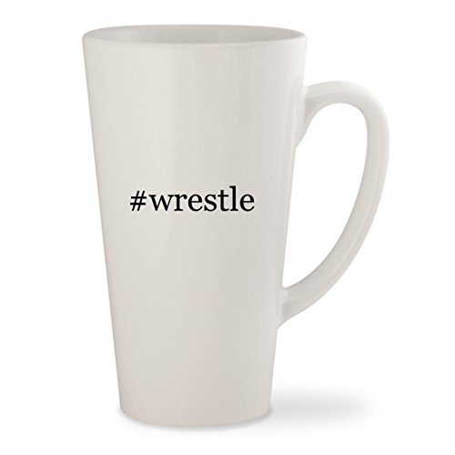#wrestle - White Hashtag 17oz Ceramic Latte Mug Cup (Tna Xbox 360 Wrestling)