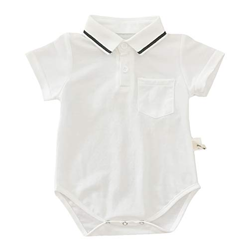 Y·J Back home White Onesie Polo Shirt Baby Boys Bodysuit Newborn One Piece Outfit Infant Body Suit Organic Cotton Clothes Toddler Solid Suit Clothing for Summer,18-24 Months
