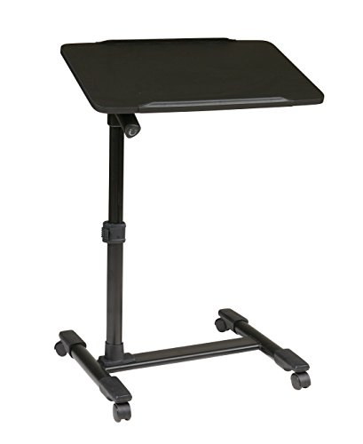 Office Star Mobile Laptop Cart with Black Powder Coated Steel Frame and Adjustable Top