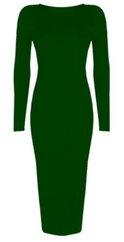 Femmes Célébrité inspiré Uni Manches Longues Midi Moulante Robe Mi-mollet -Taille 8-26 - Kaki, Femme, XL/XXL EU 48/50
