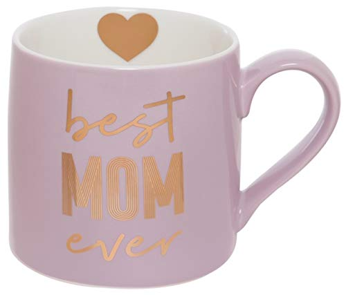 Best Mom Ever Heart Pink and Gold Tone 20 Ounce Glossy Ceramic Jumbo Mug