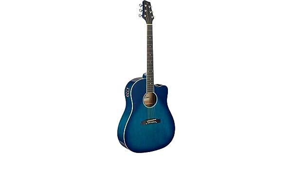 Stagg Cutaway - Guitarra acústica, eléctrica, color azul transparente: Amazon.es: Instrumentos musicales