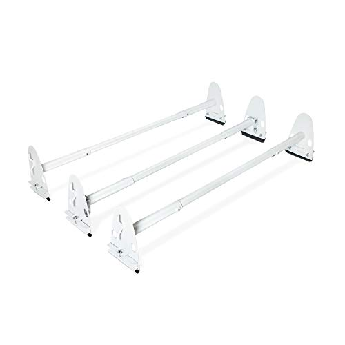 AA-Racks Model X37 Heavy Duty Rain-Gutter Van Roof Rack Round Bar Three Bar Set Steel Matte White ()