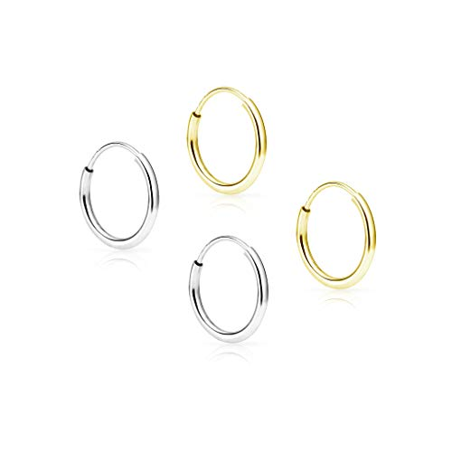 14k Gold Bangle Earrings - SOLIDGOLD - 14K Endless Yellow and White Gold 10mm Infinity Hoop Sleeper Earrings 2 Pair Set, YW