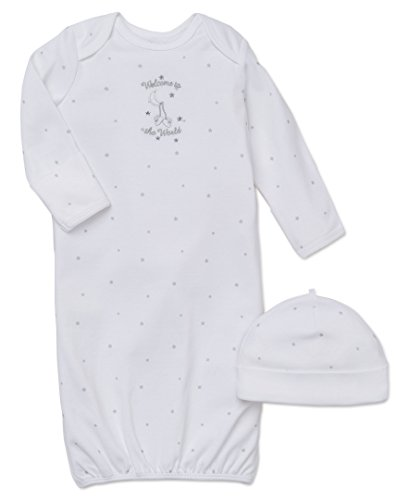 Little Me Unisex-Baby Newborn Welcome World Gown and Hat, White, 0-3 Months