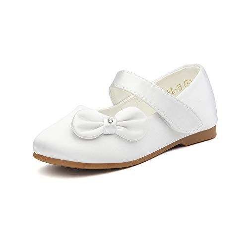 (DREAM PAIRS Angel-5 Adorable Mary Jane Side Bow Buckle Strap Ballerina Flat (Toddler/Little Girl) New White Satin Size 5)