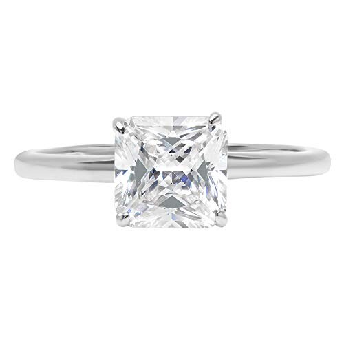 0.9ct Brilliant Asscher Cut Solitaire Highest Quality Lab Created White Sapphire Ideal VVS1 D 4-Prong Engagement Wedding Bridal Promise Anniversary Ring Solid Real 14k White Gold for Women, SZ 7.5