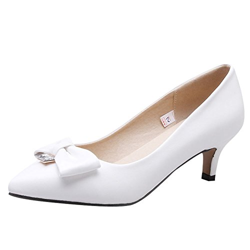 Charm Foot Womens Daily Pointed Toe Bows Low Heel Pumps Shoes White s1jYplthV