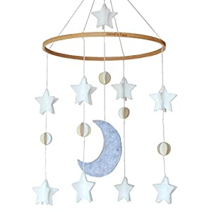 Baby Crib Mobile by Sorrel & Fern- Moon, Stars & Planets Nursery Decor | Crib Mobile