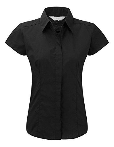 Russell Collection à manches Cap pour femme-T-Shirt en popeline pour homme Entretien facile -  Noir - XL