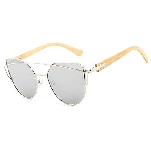 Dormery anteojos de sol de madera de bambú para mujer, con espejo, anteojos de sol