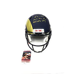 Aaron Donald Los Angeles Rams Pitt Panthers Signed Autograph RARE SPLIT TEAM Speed Full Size Helmet DUAL Inscribed JSA Witnessed Certified