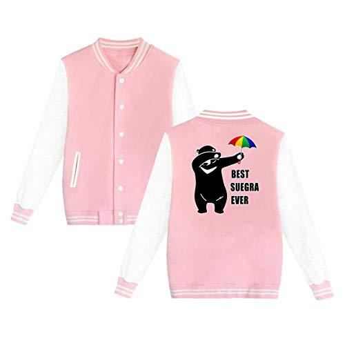 Suegras En Halloween (LINARUBE Best Suegra Ever Dabbing Bear Mens & Womens Fashion Hoodie Baseball Uniform Jacket Sport Coat Pink)