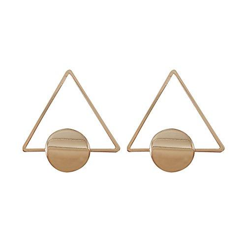 Circular Dangle Earrings (Simple Geometric Triangle and Circular Design Earrings Woman)