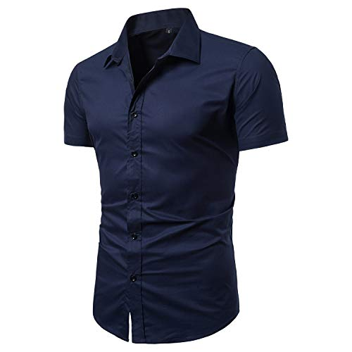 LOCALMODE Men's Slim Fit Cotton Business Casual Shirt Solid Short Sleeve Button Down Dress Shirts Medium Navy Blue