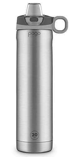 Pogo 20oz Vacuum Insulated Stainless Steel Water Bottle with Silicone Straw Lid, Grey, 20 oz.