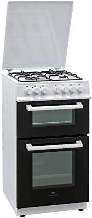 Continental Edison - Cocina (50 x 60 cm, Doble Horno, eléctrico, 4 Fuegos), Color Blanco