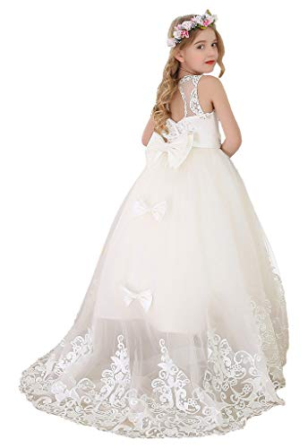 Bow Dream Flower Girl Dress Princess Long Girls Pageant Dresses Kids Prom Puffy Tulle Ball Gown Ivory -